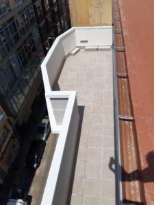 Obra de terraza con canalón